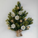 壁掛式クリスマスツリー ドイツ製オーナメント付き 木製オーナ...