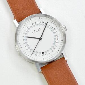 【送料無料】エービーアートa.b.artメンズ腕時計O101WBR/S正統派モダンスイス製ホワイトダイヤルブラウンベルト
