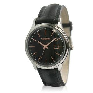 【送料無料】コプハcophaメンズ腕時計SC40-2675【スリムクラシック40SlimClassic40】フランス製クロコレザーベルトブラック・ローズゴールドXブラック