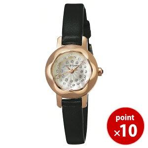 【送料無料】ジルスチュアートJILLSTUARTTIME時計腕時計ringリングカットガラスピンクゴールド×ブラック革ベルト12ヶ所スワロフスキー付きダイアルSILDB005