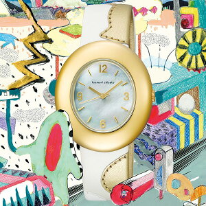 【最新作限定モデル】ツモリチサトtsumorichisatoレディースハッピーストーン10周年記念モデル腕時計ライトゴールドレザーベルトNTBA701【正規品】【送料無料】