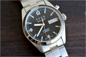 【2/28am10:00~値上げとなります】【送料無料】SPQRスポールメンズ・レディース兼用腕時計自動巻デイデイト(日付・曜日)ブラックフェイスメタルベルトステンレスブレスADSB-SS