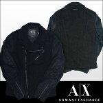 A|XArmaniExchangeアルマーニエクスチェンジメンズライダースジャケットPUレザートリムブラックアメカジアウターアメカジセレカジインポートカジュアルスタイルファッション