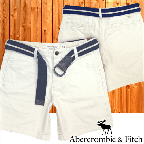 アバクロ メンズ ハーフパンツ ベルト付き オフホワイト 059 ショーツ Abercrombie&Fitch アバクロ...