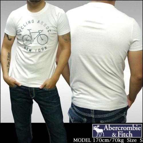 アバクロ 正規 Abercrombie&Fitch アバクロンビー&フィッチ メンズ 半袖 Tシャツ CYCLING ホワイ...