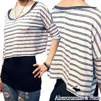 アバクロAbercrombie&Fitchアバクロンビー&フィッチレディースワイドTシャツボーダー1ホワイトネイビーシャツ半袖ゆるtゆるtシャツアメカジブランドファッションインポートカジュアルヴィンテージスタイル正規商品