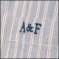 アバクロAbercrombie&Fitchアバクロンビー&フィッチレディース半袖ボタンシャツストライプライトブルーシャツアメカジブランドファッションインポートカジュアルヴィンテージスタイル正規商品