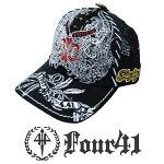 Four41LosAngelesフォーフォーティーワンキャップスワロフスキーブラック08インポートメンズレディース帽子インポートセレブセレカジアメカジストリートサーフLAセレブEdHardyエドハーディーファッションROCKロックスタイル好きに◎