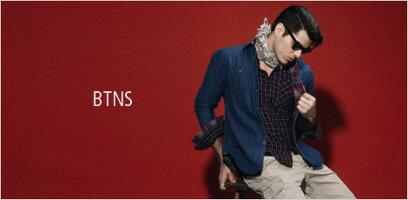 BTNSメンズカジュアルシャツブルーロールアップサファリシャツストライプシャツインポートLAカジュアルアメカジセレカジセレブスタイル海外人気セレクトショッププラネットブルーロンハーマンフレッドシーガル取扱雑誌多数掲載ブランドファッション