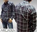 【セール】 アルカディア メンズ ボタンシャツ ARCADIA チェックシャツ ブラック 長袖 シャツ LAセレブ 多数着用 プレミアム ブランド ハリウッド セレブ カジュアル セレカジ ファッション ロック スタイル