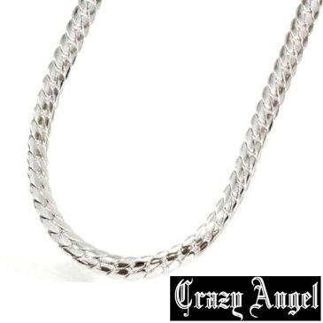 Crazy Angel クレイジーエンジェル 真鍮 ゲルマニウム 天然ダイヤモンド ネックレス 7mm/60cm CAG-101-R60 シルバーカラー へリンボーンチェーン 紋章 アクセサリー ジュエリー ブランド アクセ メンズ