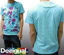 デシグアル Desigual メンズ Tシャツ アクア 半袖 tシャツ 32T1439 スペイン セレブ セレカジ ヨーロピアン ファッション インポート ブランド アメカジ セレブ カジュアル スタイル 正規