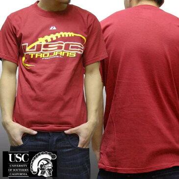 USC トロージャンズ アメリカンフットボール メンズ Tシャツ 南カリフォルニア大学 NCAA LA majestic athletic カジュアル ストリート ウェアー ヒップホップ ファッション HIPHOP B系 スタイル ウエストコースト 西海岸 服 ダンス ウェア アメカジ ブランド セール