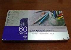 【半額】今なら塗り絵&DVD付き!!ヴァンゴッホ油性色鉛筆60色セット(メタルケース入り)【あ...