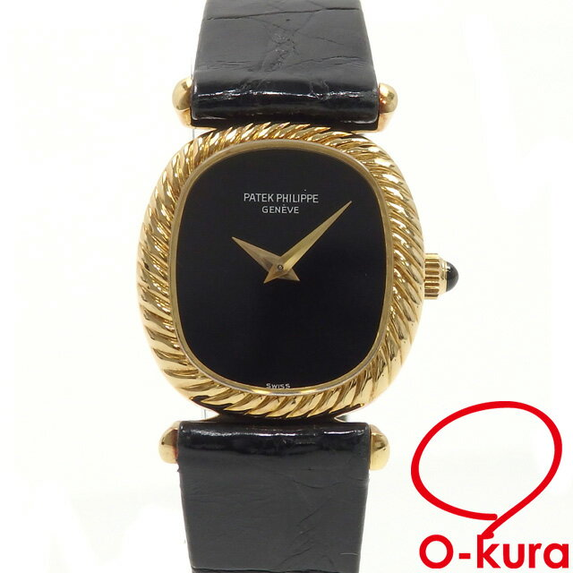 パテックフィリップ watch Ladys rolling by hand YG leather belt PATEK PHILIPPE black clockface black yellow gold Ladys watch machine type deep-discount pawnshop watch exemption from taxation A2170090