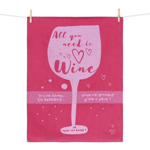 【オンライン限定SALE】ティータオル ALL YOU NEED IS WINE(みんなワインが必要さ♪) Tissage Moutet(ティサージュ・ムテ)キッチンファブリック画像