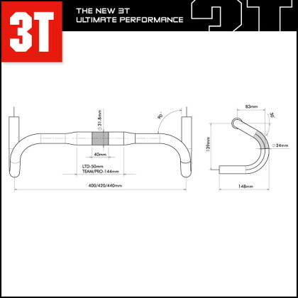 3TROTUNDOLTD【ドロップハンドル】【ロード用】【スリーティー】【クランプ計:31.8mm】