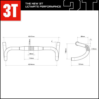 3TERGOTERRATEAMSTEALTH【ドロップハンドル】【ロード用】【スリーティー】【クランプ計:31.8mm】
