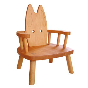 無垢の木で作った、かわいいウサギの肘付き子ども椅子。肘付ウサギイス(子ども用椅子)【木製...