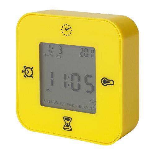 IKEA KLOCKIS イケア 時計/温度計/アラーム/タイマー, イエロー 003.848.28
