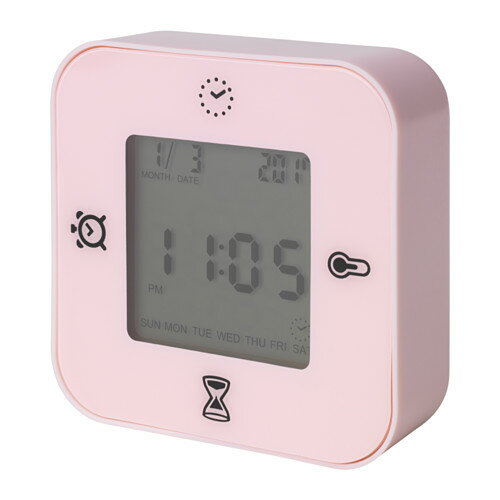 IKEA KLOCKIS イケア 時計/温度計/アラーム/タイマー, ライトピンク 目覚まし時計 203.848.27