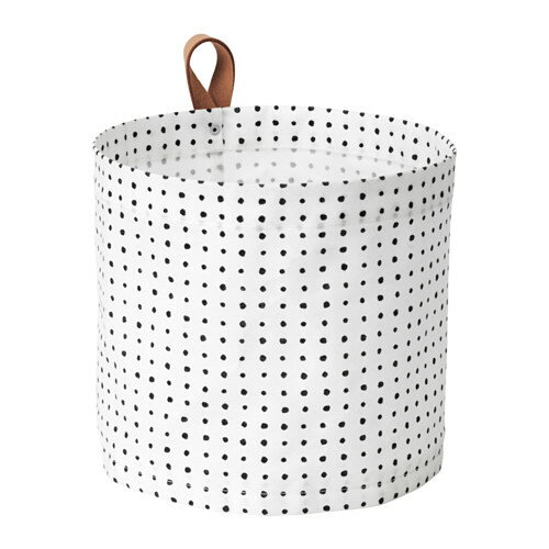 IKEA PLUMSA イケア 収納バスケット, ホワイト, ブラック 803.643.36