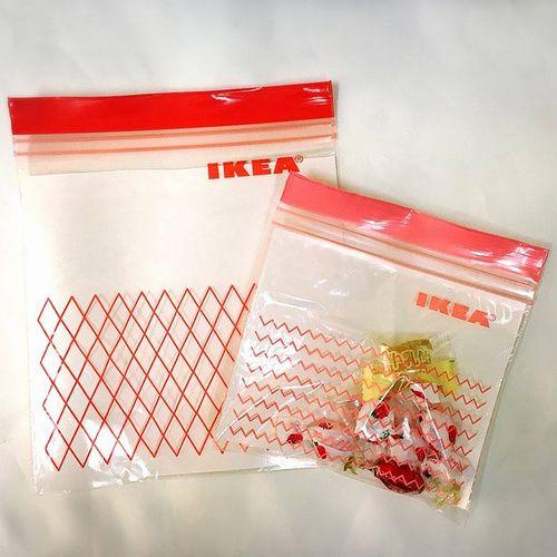 IKEA ISTAD イケア プラスチック袋 レッド/ピンク 60ピース Sサイズ ジップロック 903.392.85