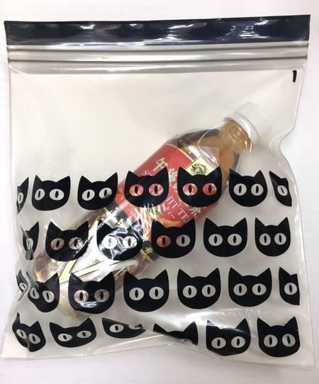 【ハロウィン 限定アイテム】IKEA HOSTLOV イケア プラスチック袋 ブラック 猫柄 15ピース Mサイズ ジップロック 404.000.15の写真