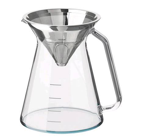 IKEA HÖGMODIG ホーグモーディグコーヒーメーカー ドリップコーヒー用, クリアガラス, ステンレススチール703.589.63【メール便不可】