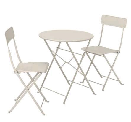 イケア IKEA SALTHOLMEN サルトホルメンテーブル+折りたたみチェア2 屋外用, ベージュ 491.838.14【メール便不可】