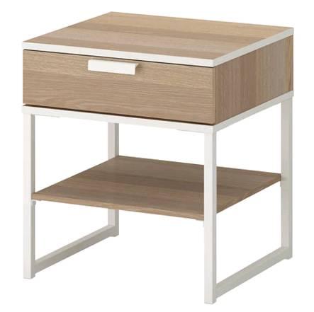 イケアIKEATRYSILトリスィルベッドサイドテーブル,ホワイトステインオーク調,ホワイト45x40cm403.717.58