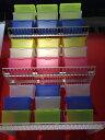 IKEA GLIS イケア ふた付きボックス, ピンク/ホワイト, イエロー 3ピース 001.355.70 【メール便不可】