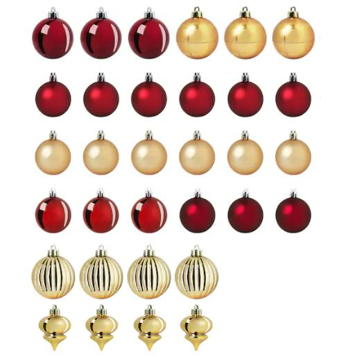 【クリスマス直前‼値下げしました‼】IKEA イケア VINTER 2020 ヴィンテル 2020デコレーション ボールオーナメント 32個セット, レッド/ゴールドカラー704.757.21【メール便不可】
