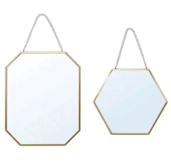 IKEA イケア LASSBYN ラスビーン, ミラー2枚セット, ゴールドカラー304.536.98
