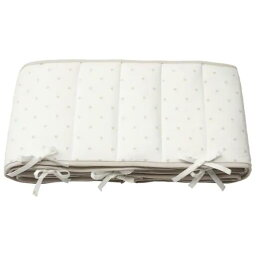 IKEA イケア LENAST レーナスト ベッドバンパー, 水玉模様/ホワイト グレー60x120 cm 704.539.03 【メール便不可】
