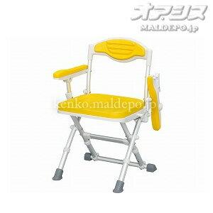 浴室チェアー 介護椅子 折畳み式 座面幅37.5 ウチエ 湯チェア12(ひじありタイプ) UC-102 イエロ...