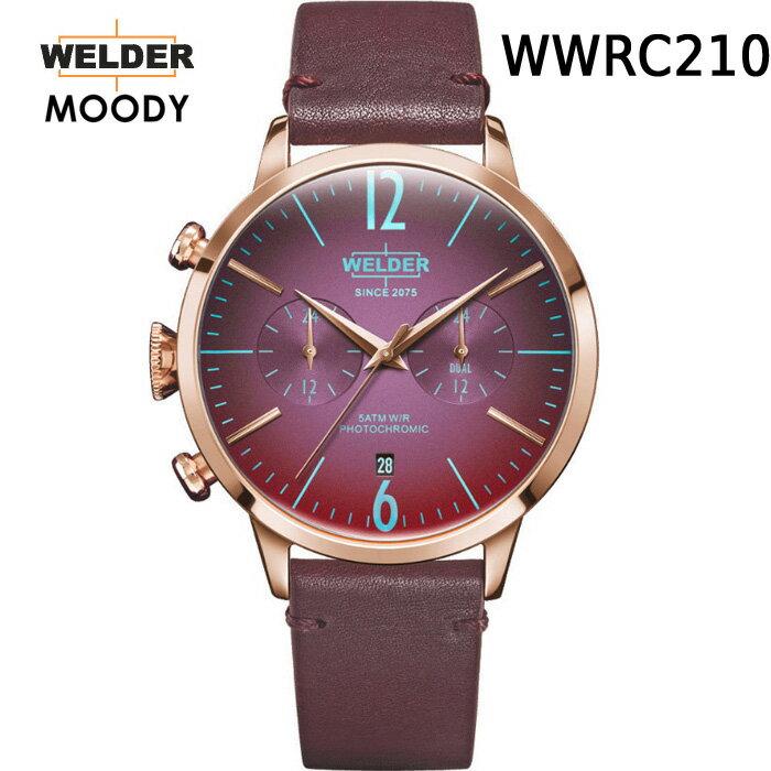 ガラスの色が変わる新感覚ウォッチ WELDER MOODY DUAL TIME ウェルダー ムーディー WWRC204 WWRC207 WWRC208 WWRC209 WWRC210 WWRC211 デュアルタイム 腕時計 ケースサイズ42mm レザーバンド カラーモデル 国内正規品 男女兼用  正規2年間保証付