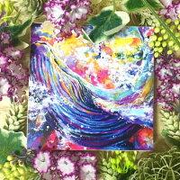 絵画縁起画モダンシェアハウスアートパネルアート水彩画植物14cm×14cm一人暮らし送料無料インテリアアートパネル雑貨壁掛け置物おしゃれ水彩画クジラくじらエコーロケーション鯨動物海ロココロ画家:平田幸大作品:可能性を超えて