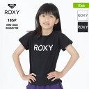 【キャッシュレス5%還元】 ROXY/ロキシー キッズ 半袖 Tシャツ TST182104 ティーシャツ クルーネック ロゴ ブラック 黒色 ホワイト 白色 ジュニア 子供用 こども用 女の子用