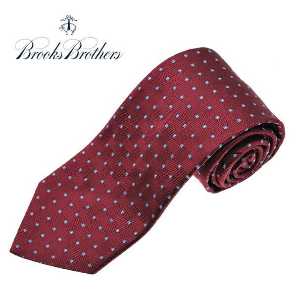 ブルックスブラザーズ ネクタイ BROOKS BROTHERS 小紋 シルクタイ アメリカ製 バーガンディ