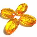 【50円均一】アクリルビーズ*約14.5×10mm*ファセット・オーバル/ライトオレンジ*10個入り