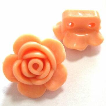 【50円均一】アクリルビーズ*約18mm*2ホール/フラワー・ライトオレンジ*4個入り
