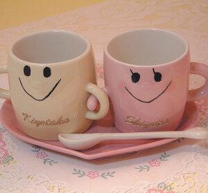 新婚さんやカップルのプレゼントに最適!名前彫刻入りなかよしペアマグカップ(コースター,スプ...