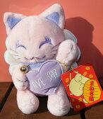 招き猫(ピンク,パープル,白いはねつき,鈴付き,LOVE運,ラブ運,まねきねこ)送料無料