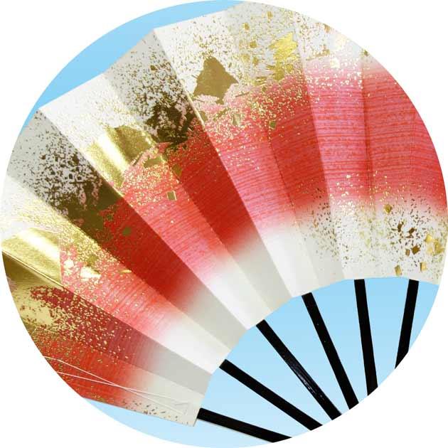 舞扇子(まいせんす) 扇子 踊り用 黒塗骨 ぼかし金砂子 舞台用 踊り花かげ 飾り、撮影用