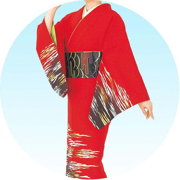 踊り 着物 きもの 女物 胴抜き 仕立上がり 附下訪問着 洗える着物 踊り衣装 絵羽 青 赤