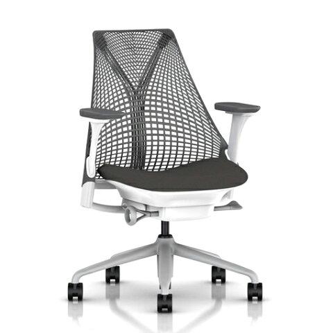 【HermanMiller】SAYL Chair(セイルチェア)サスペンションミドルバック/フルアジャスタブルアーム/ベース:フォグ/フレーム:ホワイト/サスペンション:スレートグレー/アームパッド:スレートグレー/座面カラー:グラナイト(ファブリック・コスモス)/EGP