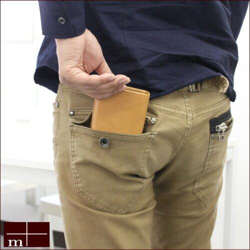 エムピウ[m+]二つ折り財布ミッレフォッリエ2P25mmイタリア製タンニン鞣し革