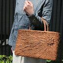 山葡萄かごバッグ(W34xD12xH21cm)【tsunagu-032】手紡ぎ、草木染の手織り布を使用した巾着セット(やまぶどう、山ぶどう) 特典:ハンドルカバー付き/籠バッグ/送料無料