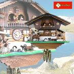 スイス・レッチャー社のオルゴールつきカッコー時計 ブリエンツ湖畔の山小屋とたくさんの動物たち/鳩時計/ハト時計/1日巻き/機械式時計/掛け時計/かわいい/おしゃれ/スイス製/3年保証/木製/北欧/新築祝い/送料無料/